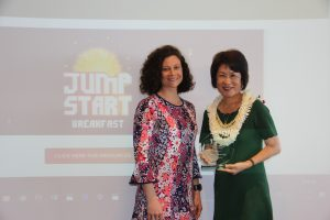 First lady Dawn Amano-Ige was recognized for her leadership and named to the School Breakfast Hall of Fame by Summer Kriegshauser, senior program manager of the national No Kid Hungry campaign.
