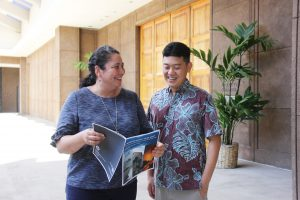DCCA director Catherine Awakuni Colón and communications officer William Nhieu.