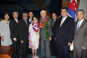 Former Gov. Ariyoshi receives Aloha Order of Merit from state Legislature