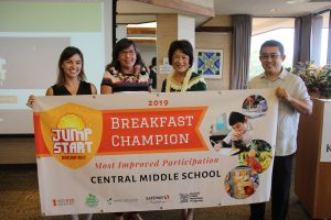 First lady Dawn Amano Ige with (from left) Daniela Kittinger of Hawai'i Appleseed, Central Middle's principal Anne-Marie Murphy, and Dexter Kishida, Department of Education program specialist celebrate the school's 23 percent increase in breakfast participation.