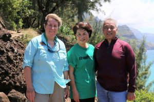 Governor and Mrs. Ige hiked Kaua'i's Kalalau Trail with DLNR chair Susanne Case and others from Ha'ena. Photo credit: DLNR