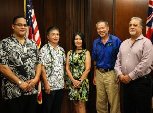 The three new members with Tommy Johnson, Hawaii Paroling Authority Administrator and Nolan Espinda, Director Department of Public Safety.