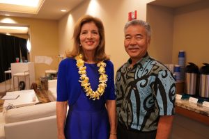 Former ambassador to Japan Caroline Kennedy with the governor at the U.S. Conference of Mayors in Honolulu.