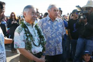 Governor Ige and William Aila,Jr. director of the Department of Hawaiian Home Lands, went to Mauna Kea to meet with those protesting the TMT project.
