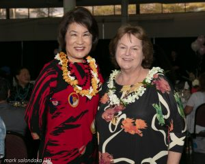Mrs. Ige and Goodwill CEO Laura Smith.