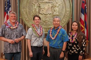 "Gov. Ige with members of the State Environmental Council: (from left) Ronald Terry of Hawaiʻi Island, OEQC director Scott Glenn and Council chair Puananionaona (""Onaona"") Thoene."