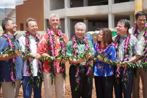 Gov. Ige joins Highridge Costa president Michael Costa, councilmember Kymberly Pine and others at the Kulana Hale Phase II groundbreaking Aug. 28.
