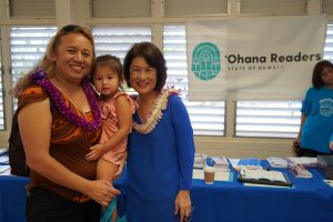Rep. Lynn DeCoite, granddaughter Kennedy and Mrs. Ige.