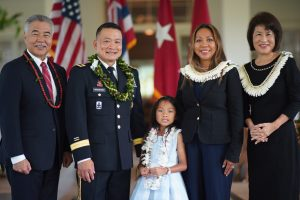 Brig. Gen. Roy J. Macaraeg, wife Bene and daughter Chloe Anne with Governor and Mrs. Ige.