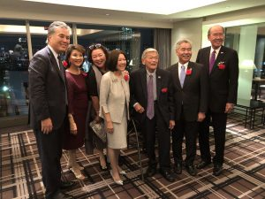 The seven Japanese-Americans invited to the enthronement ceremony were (from left) California Congressman Mark Takano, Lori Matsukawa of the U.S.-Japan Council, attorney Christine Kubota, Irene Hirano Inouye, former transportation secretary Norman Mineta, Governor Ige and businessman Thomas Iino.