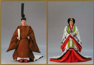 Emperor Naruhito and Empress Masako in their royal robes.