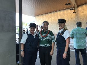 "Customers can ride the electric tram with ""conductors"" at Kahului Airport's new rental car facility."