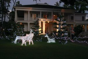 A view of the holiday lights at Washington Place.