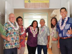 - Mayor Kim, Brandee Menino of Hope Services and Scott Morishige with legislators Ruderman, San Buenaventura and Kahele at new Hilo shelter.