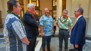 Governor Ige and Chief Justice Mark Recktenwald join DOH's Eddie Mersereau and judicial speakers at the Mental Health Summit.