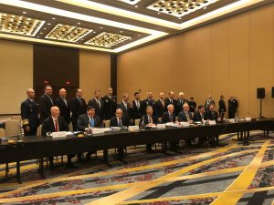 A meeting of the Council of Governors in Washington, D.C. with co-chairs Gov. Ige and Gov. Hutchinson.