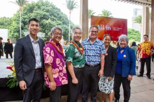 Governor Ige and legislators gather at the state Capitol for a 2020 census rally.