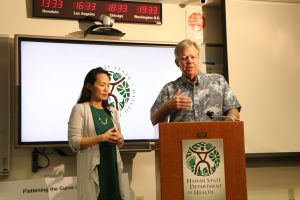 DOH epidemiologist Sarah Park and director Bruce Anderson.