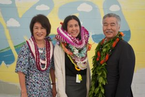 Governor and Mrs. Ige with Milken winner Miki Cacace.