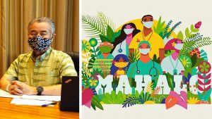 """Mask up"" is the main message Governor Ige and health officials want to emphasize in the weeks ahead. Local artist Shar Tuiasoa of Punky Aloha Studios share her island-style support."