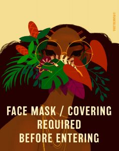 Kailua artist Shar Tuiasoa of Punky Aloha Studios offers her mask sign for free to businesses and schools.