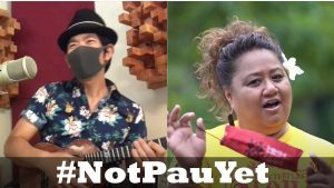 """The Hawaii Department of Defense produced a series of PSAs featuring well-known musicians with the theme """"We're not pau yet."""""""