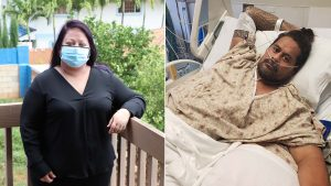 Sarah Bolles and Gaualofa Nua praise healthcare workers and urge everyone to protect themselves and others from COVID-19 after the virus nearly killed them. Credit (right): The Queen's Health Systems