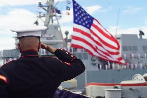 A salute during the 75th anniversary ceremonies at Pearl Harbor.