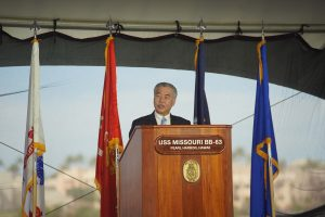 Governor Ige addresses the audience of veterans, top military officials and community leaders.