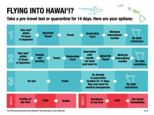 The options for anyone flying into Hawai'i for either a pre-travel test or quarantine.