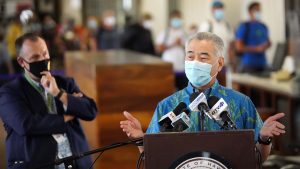 Governor Ige and Lt. Gov. Green at the Daniel K. Inouye International Airport.