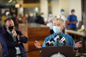 Governor Ige and Lt. Gov. Josh Green at the Daniel K. Inouye International Airport for the Oct. 15 launch of the Safe Travels pre-travel testing program.