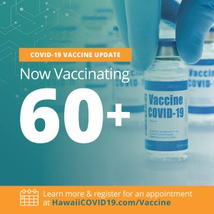 Graphic showing the state is now vaccinating those 60 and older
