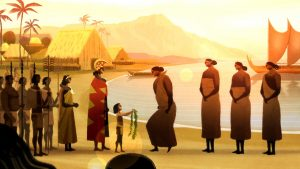 """A scene from the acclaimed animated short """"Kapaemahu,"""" produced in Hawai'i."""