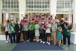 WARRIOR PRIDE: Governor and Mrs. Ige honored the NCAA champion UH men's volleyball team at Washington Place.