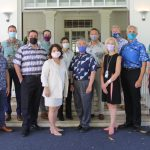 Gov. Ige, DOH director Dr. Libby Char (center back) and community partners for #HIGotVaccinated.