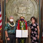 Governor and Mrs. Ige honor Olympic gold medal winner and surfing champion Carissa Moore.