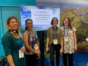 Conservation partners from the state Department of Land and Natural Resources, the Hawaii Invasive Species Council and other community organizations: (from left) Chelsea Arnott, Christy Martin, Laura Brewington, and Rachel Neville.
